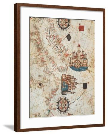 Genoa and Venice, from the Nautical Atlas by Joan Martines, 1571--Framed Giclee Print