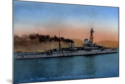Französisches Kriegsschiff Courbet, Cuirassé--Mounted Giclee Print