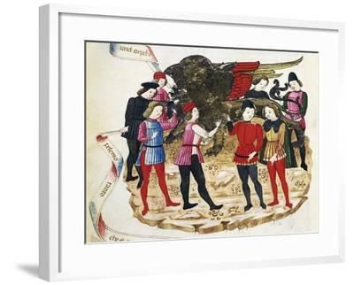 Skinning St Mark's Lion, Miniature from the Book of Privileges, Manuscript HV5, Italy--Framed Giclee Print
