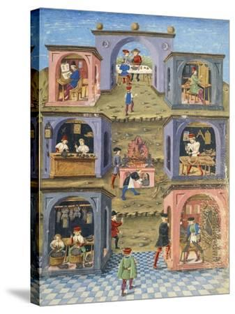 Craftsmen at Work, Miniature from De Sphaera--Stretched Canvas Print