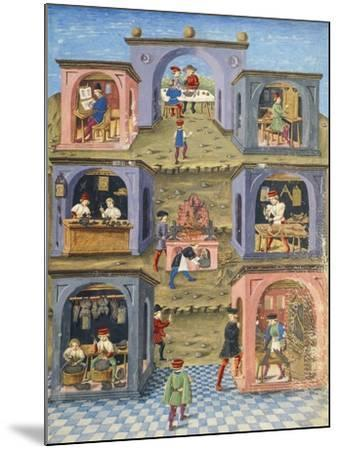 Craftsmen at Work, Miniature from De Sphaera--Mounted Giclee Print