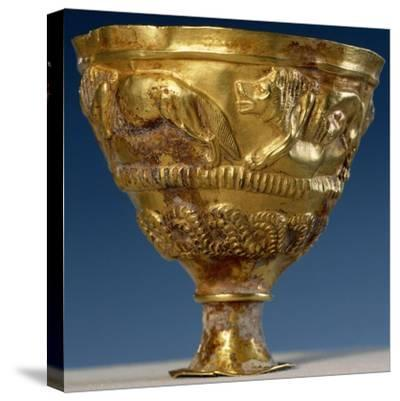 Cup with Four Gold Lions in Relief--Stretched Canvas Print