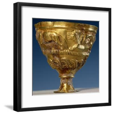 Cup with Four Gold Lions in Relief--Framed Giclee Print
