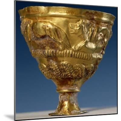 Cup with Four Gold Lions in Relief--Mounted Giclee Print