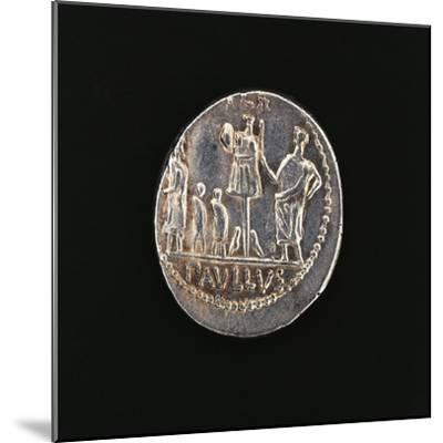 Denarius Issued in 71 BC to Commemorate Aemilius Paullus' Victory at Battle of Pydna in 168 BC--Mounted Giclee Print