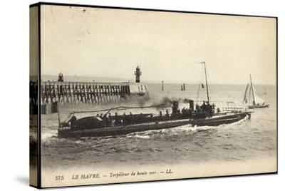 Französisches Kriegsschiff Im Hafen, Segelboot--Stretched Canvas Print