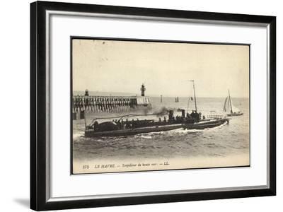 Französisches Kriegsschiff Im Hafen, Segelboot--Framed Giclee Print
