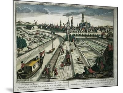 Netherlands, Haarlem, View of the Canal--Mounted Giclee Print