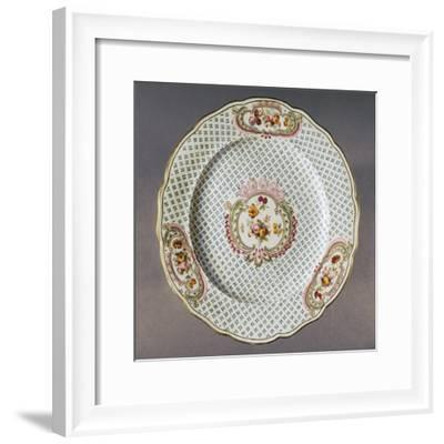 Lobed Plate with Floral Compositions on Seeded Floral Background--Framed Giclee Print