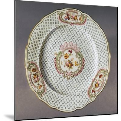 Lobed Plate with Floral Compositions on Seeded Floral Background--Mounted Giclee Print