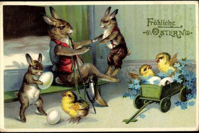 Künstler Frohe Ostern, Osterhase, Küken, Pfeife--Framed Giclee Print