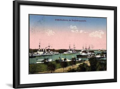 Wilhelmshafen Nieders., Reichskriegshafen, Schiffe--Framed Giclee Print