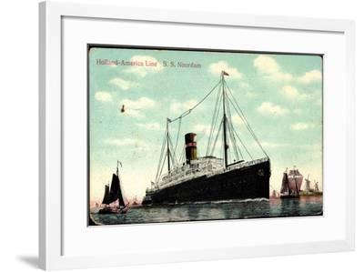 Hapag, S.S. Noordam, Dampfschiff, Segelboote--Framed Giclee Print