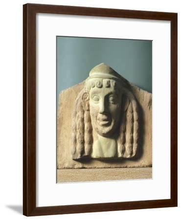 Female Head, Antefix in Terracotta from Temple of Apollo in Thermos, Greece--Framed Giclee Print
