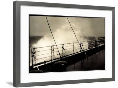 Hapag, Seestück, Dampfer Im Seegang, Wellen an Deck--Framed Giclee Print