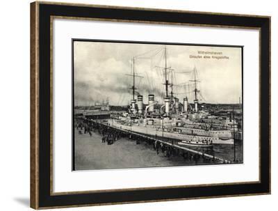 Wilhelmshaven, Einlaufen Eines Kriegsschiffes--Framed Giclee Print