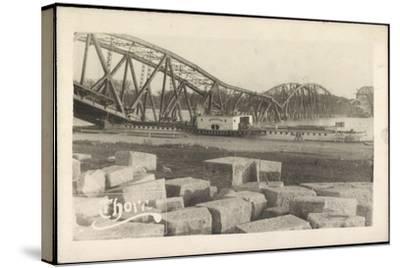 Foto Graudenz Westpreußen, Zerstörte Brücke, Dampfer--Stretched Canvas Print
