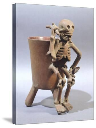 Tripod Vase Showing a Skeleton, Artifact Originating from Mexico--Stretched Canvas Print