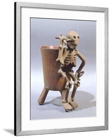 Tripod Vase Showing a Skeleton, Artifact Originating from Mexico--Framed Giclee Print