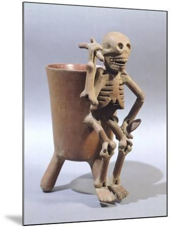 Tripod Vase Showing a Skeleton, Artifact Originating from Mexico--Mounted Giclee Print