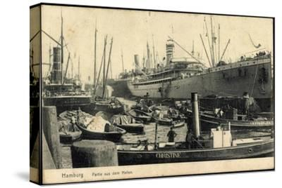 Hamburg, Hafen, Dampfer Christine and I.H. Königslieb--Stretched Canvas Print