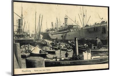 Hamburg, Hafen, Dampfer Christine and I.H. Königslieb--Mounted Giclee Print