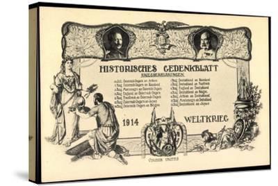 Wilhelm II, Franz Josef I, Kriegserklärungen 1914--Stretched Canvas Print