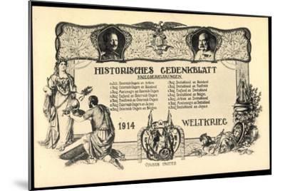 Wilhelm II, Franz Josef I, Kriegserklärungen 1914--Mounted Giclee Print