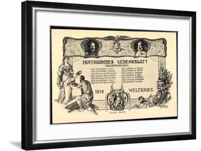 Wilhelm II, Franz Josef I, Kriegserklärungen 1914--Framed Giclee Print