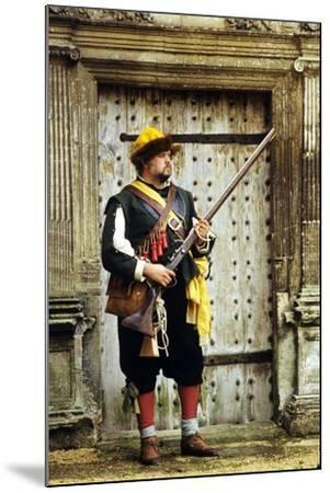 English Civil War Musketeer, Re-Enactment--Mounted Giclee Print