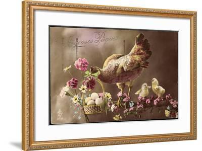 Frohe Ostern, Huhn, Küken, Ostereierkorb, Ast, Blumen--Framed Giclee Print
