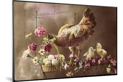 Frohe Ostern, Huhn, Küken, Ostereierkorb, Ast, Blumen--Mounted Giclee Print