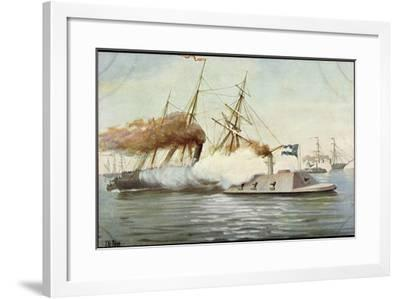 Künstler Rave, C., Futur. Kriegsschiff, Segelschiffe--Framed Giclee Print