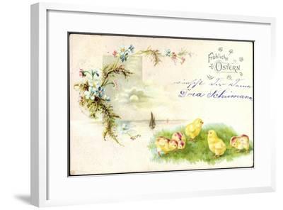 Litho Glückwunsch Ostern, Küken Auf Der Wiese, Blumen--Framed Giclee Print