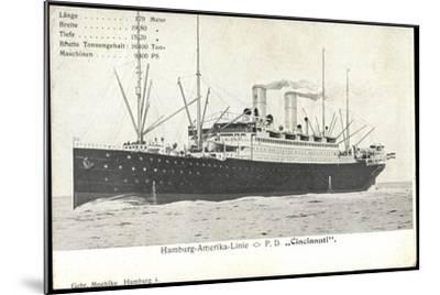 Hapag, Dampfschiff Cincinnati, Transantlantik--Mounted Giclee Print