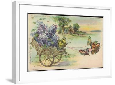 Haltgegendaslicht Litho Schmetterlinge, Blumenwagen, Kitsch, Meteor Drgm 88690--Framed Giclee Print