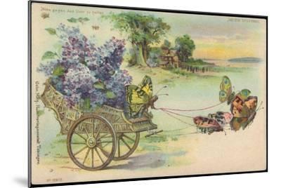 Haltgegendaslicht Litho Schmetterlinge, Blumenwagen, Kitsch, Meteor Drgm 88690--Mounted Giclee Print