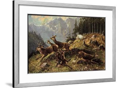 Künstler Hirsche Am Waldrand, Aufgeschreckt Und Fliehen--Framed Giclee Print