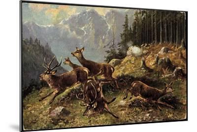 Künstler Hirsche Am Waldrand, Aufgeschreckt Und Fliehen--Mounted Giclee Print