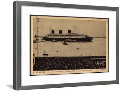 French Line, Cgt, Paquebot Normandie, Dampfschiff--Framed Giclee Print