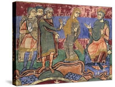 Radegunda Being Conducted by King Chlothar, Miniature from Life of Saint Radegunda, Manuscript--Stretched Canvas Print