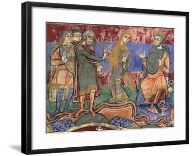Radegunda Being Conducted by King Chlothar, Miniature from Life of Saint Radegunda, Manuscript--Framed Giclee Print