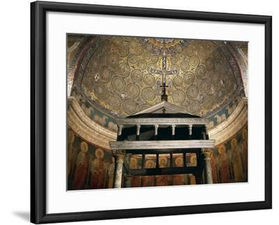 Triumph of Cross, Mosaic from Medallion of Apse, Basilica of St Clement, Rome. Italy, 12th Century--Framed Giclee Print