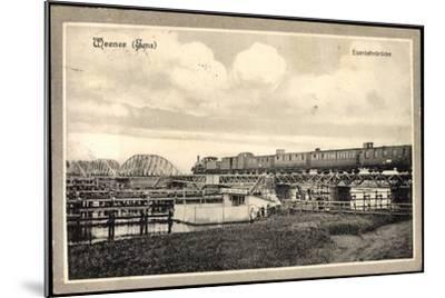 Weener Ems, Blick Auf Die Eisenbahnbrücke, Eisenbahn--Mounted Giclee Print