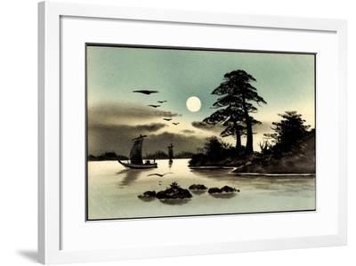 Künstler Handgemalt, Japan, Mond, Boot--Framed Giclee Print