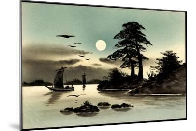 Künstler Handgemalt, Japan, Mond, Boot--Mounted Giclee Print