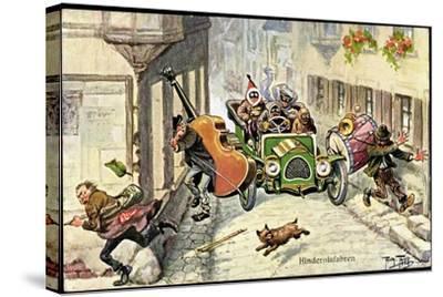 Künstler Thiele,Arthur,Hindernisfahrten,Auto,Musiker--Stretched Canvas Print