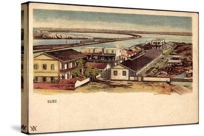 Litho Ägypten Suez, Blick Auf Ort, Wasserstraße, Boote--Stretched Canvas Print
