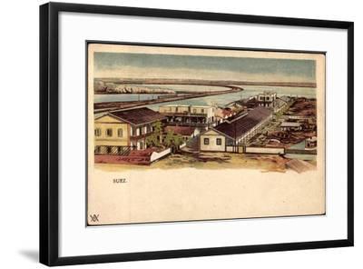 Litho Ägypten Suez, Blick Auf Ort, Wasserstraße, Boote--Framed Giclee Print