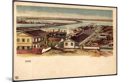 Litho Ägypten Suez, Blick Auf Ort, Wasserstraße, Boote--Mounted Giclee Print